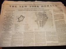 RARE ANTIQUE NEWSPAPER NEW YORK HERALD APRIL 13 1847 VERA CRUZ ALBANY SEAT WAR